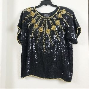 Retro Vintage Pure Silk Sequined Blouse